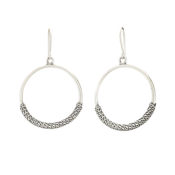 Sterling Silver Textured Hoop Earrings by Dushka