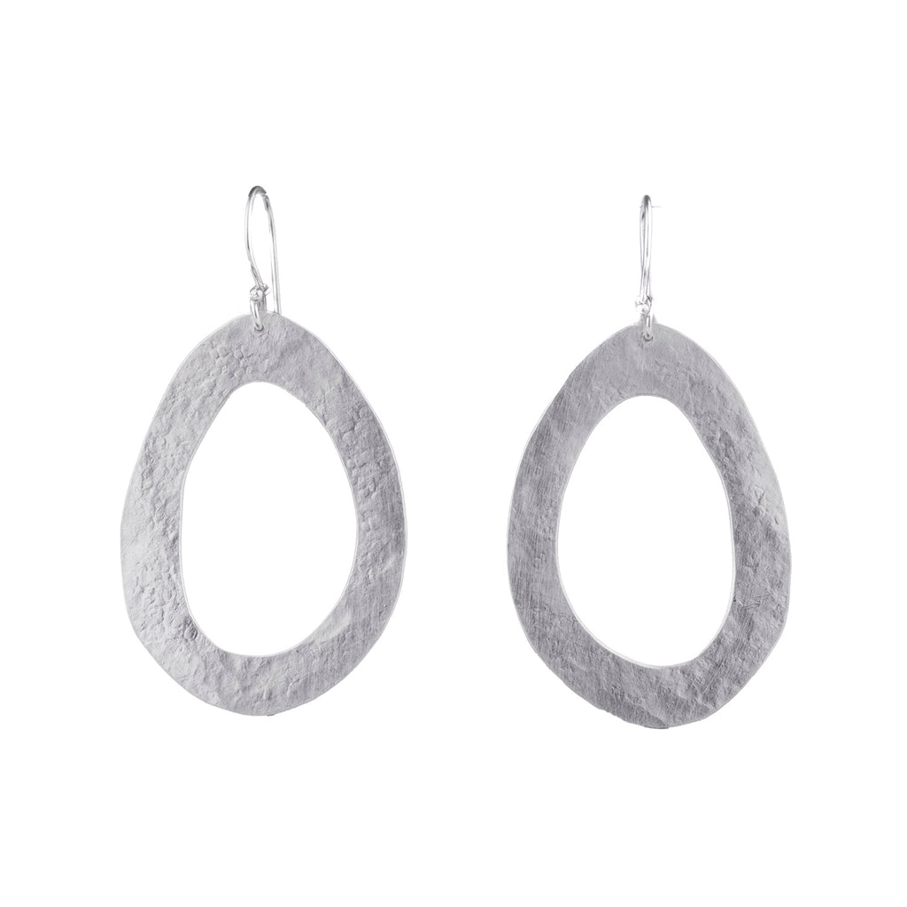 NEW! Hammering Hoop Earrings in Bright Silver by Dina Varano