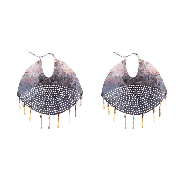 NEW! Gibbous Hoop with 18k Gold Fringe Earrings by Leia Zumbro