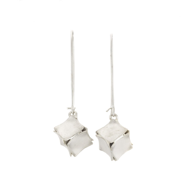 Sterling Silver Hanging Box Earrings by Dushka