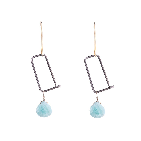 NEW! Brass and Steel Earrings with Amazonite by Eric Silva