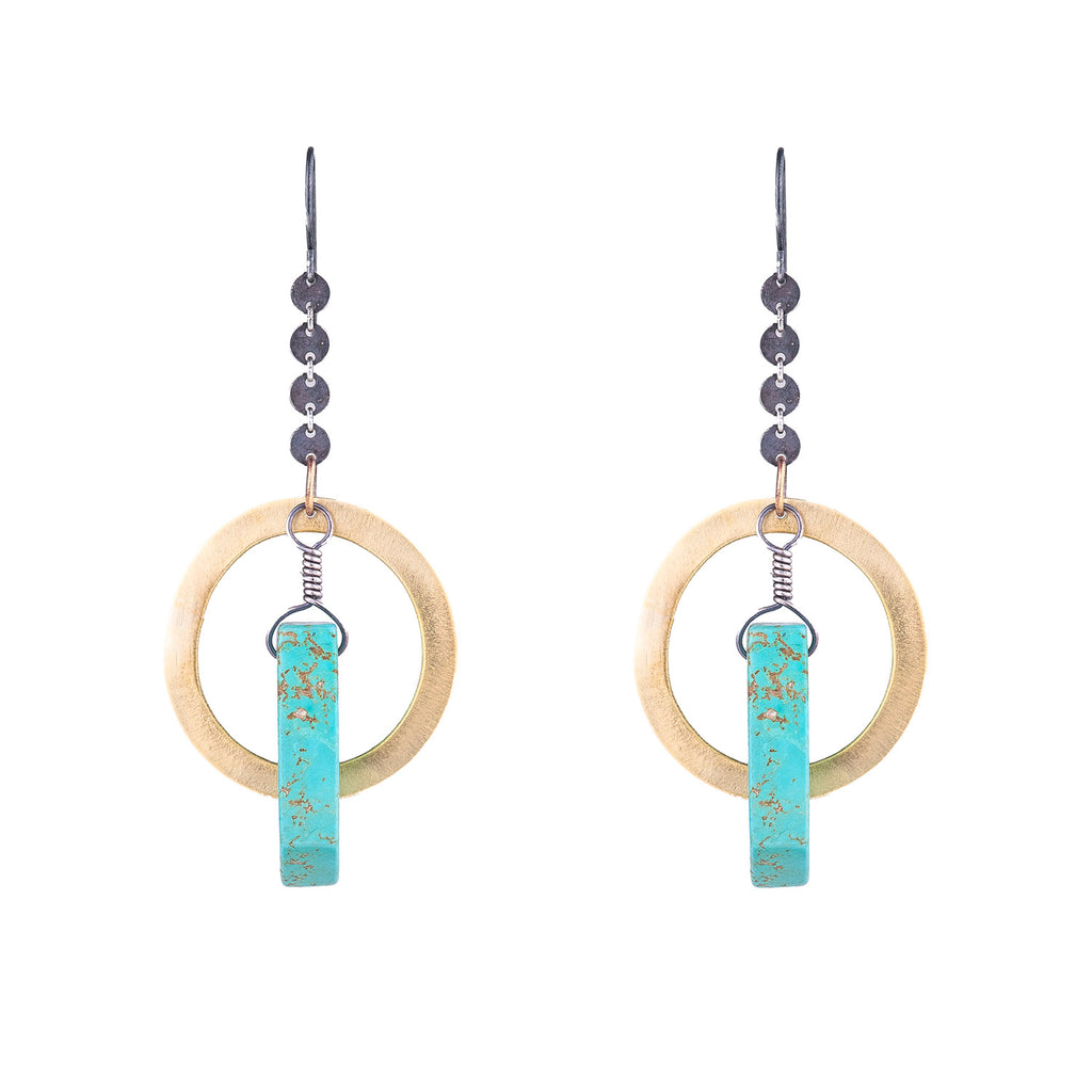 NEW! Brass and Silver Earrings with Turquoise by Eric Silva