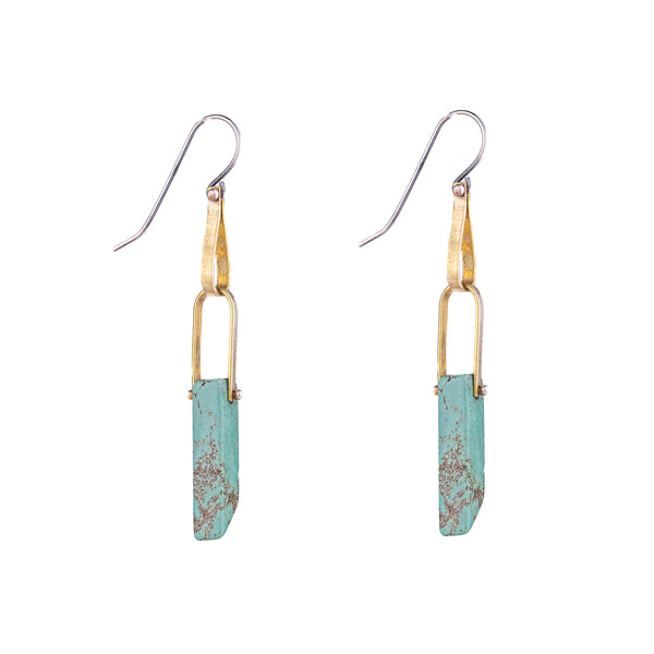 NEW! Turquoise Brass Link Earrings by Eric Silva