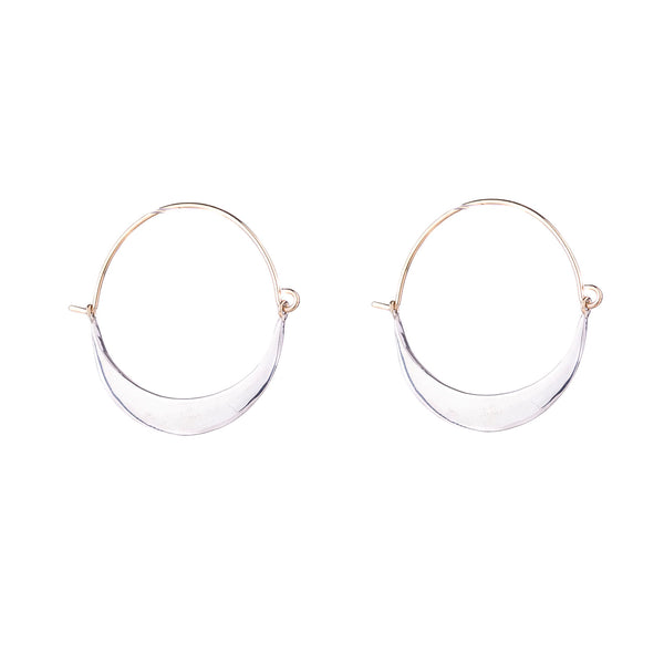 NEW! Refined Crescent Hoop Earrings in Bright Silver by Shaesby