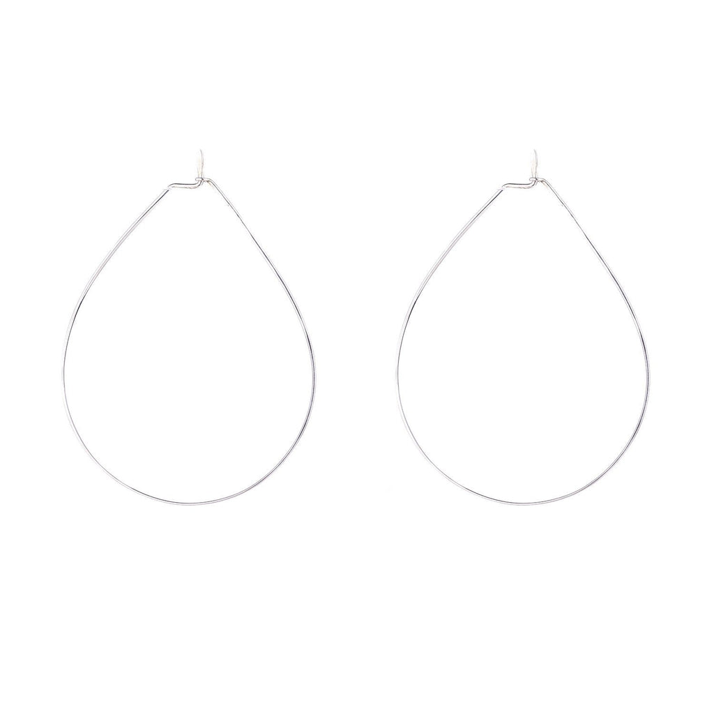 NEW! Teardrop Hoopla Earrings in Bright Silver by Shaesby