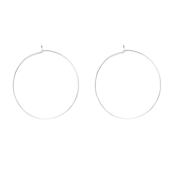 NEW! Classic Round Hoopla Earrings in Bright Silver by Shaesby