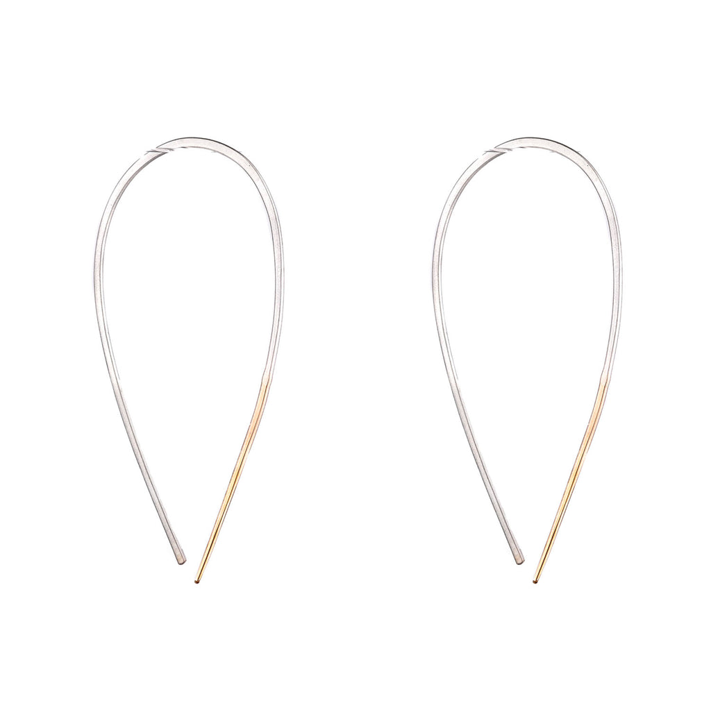 NEW! Large Silver & Yellow Gold Teardrop Pull Through Earrings by Colleen Mauer Designs