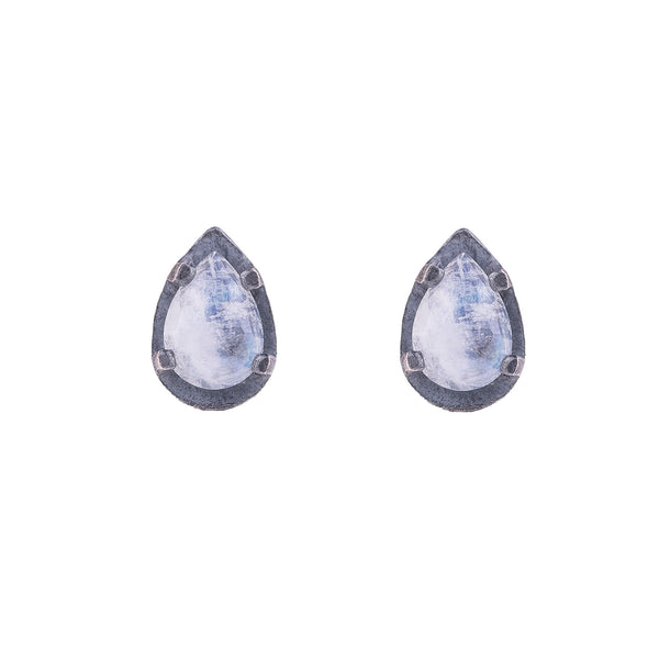 NEW! Carved 5x7mm Teardrop Rainbow Moonstone Earrings by Heather Guidero