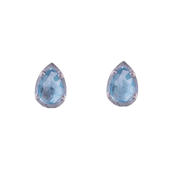 NEW! Carved 5x7mm Teardrop Blue Topaz Earrings by Heather Guidero