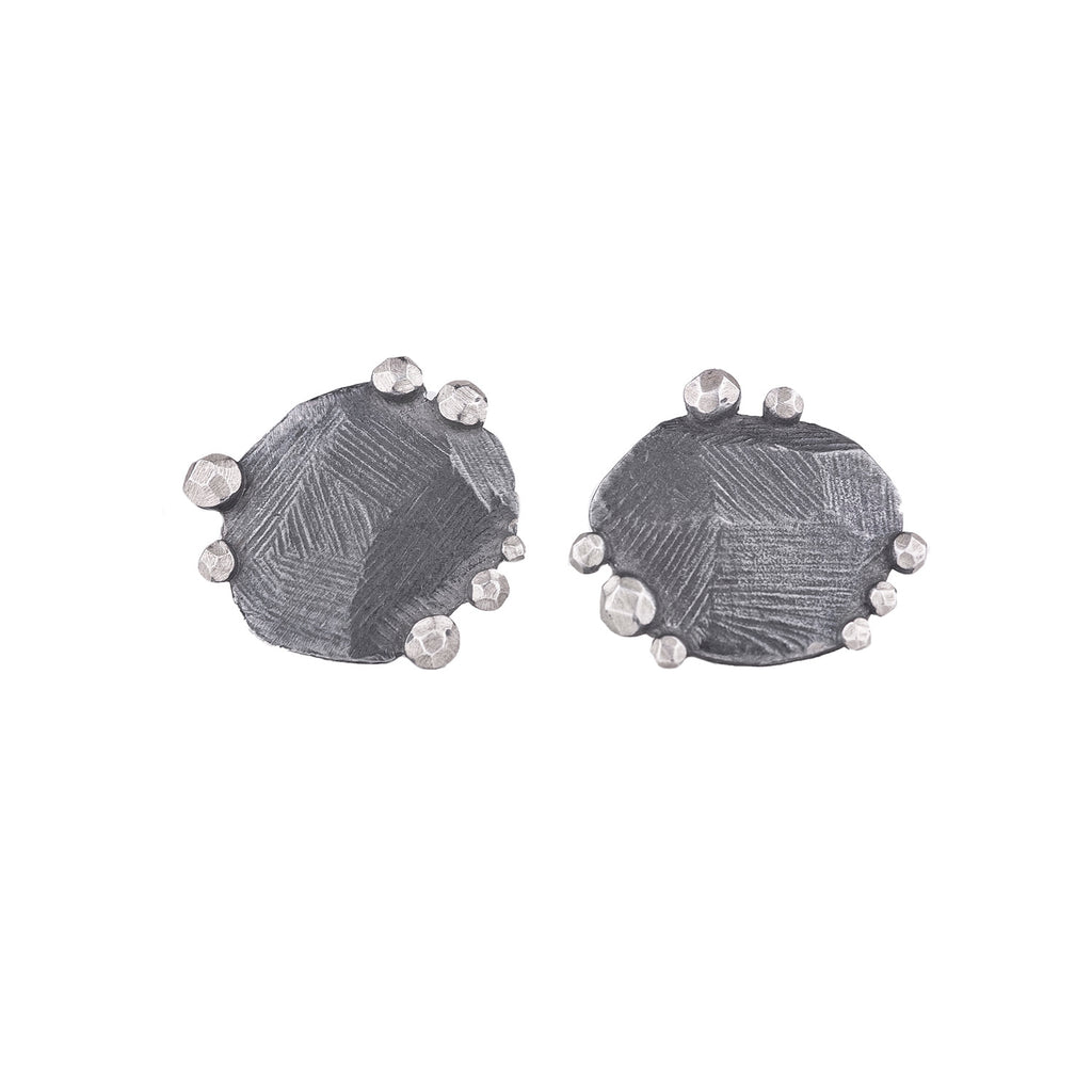 NEW! Oxidized Silver Rock Facet Edge Studs by Dahlia Kanner