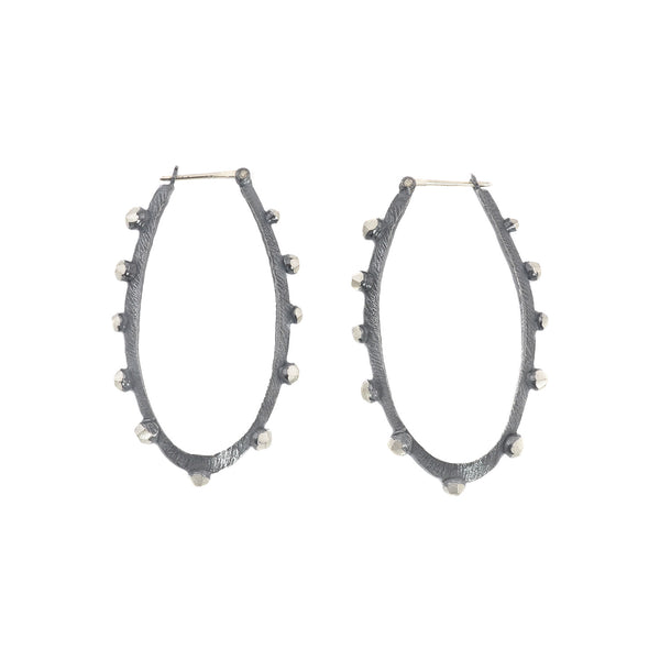 NEW! Oxidized Sterling Silver Bumpy Hoop Earrings by Dahlia Kanner