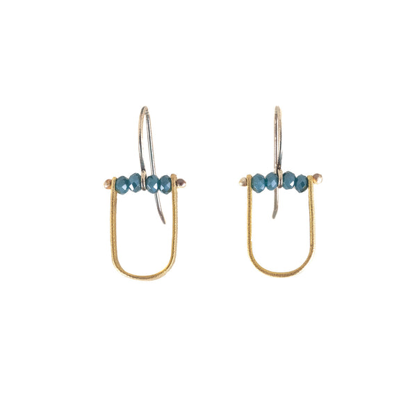 Brass, Sterling Silver & Blue Denim Quartz Earrings by Eric Silva