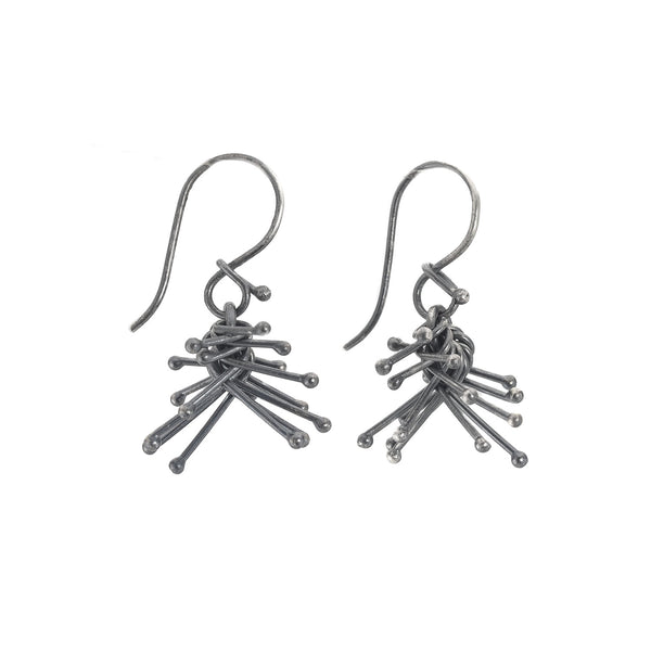 Oxidized Silver Cluster Earrings by Dina Varano