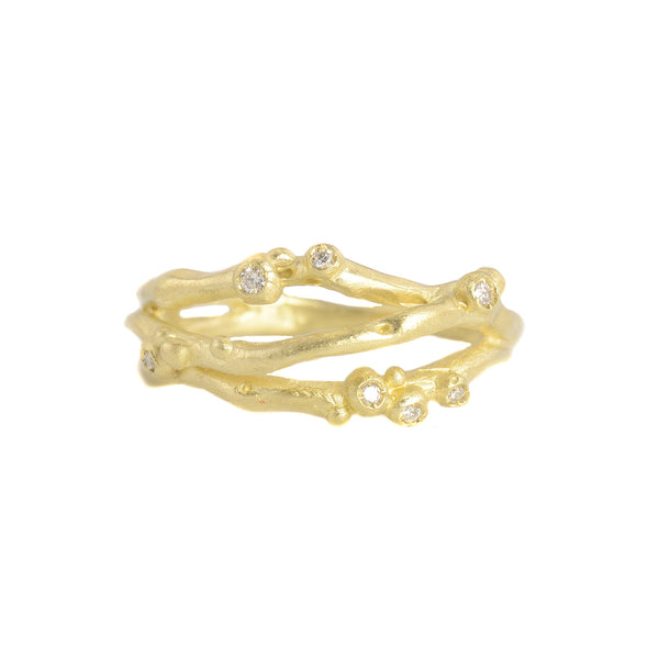14k Gold Encrusted 3 Branch Ring by Branch