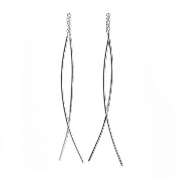 NEW! Extra Long Classic Thread-Thru Earrings in Sterling Silver by Shaesby
