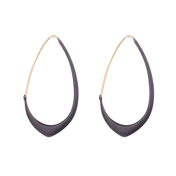 NEW! Medium Facet Hoops in Oxidized Silver & 18k Gold by Hannah Blount