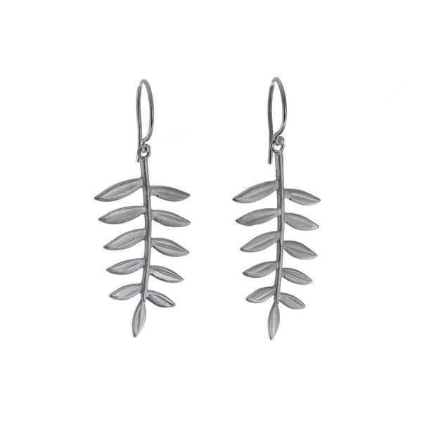 NEW! Oxidized Silver Medium Fern Loop Earrings by EAM
