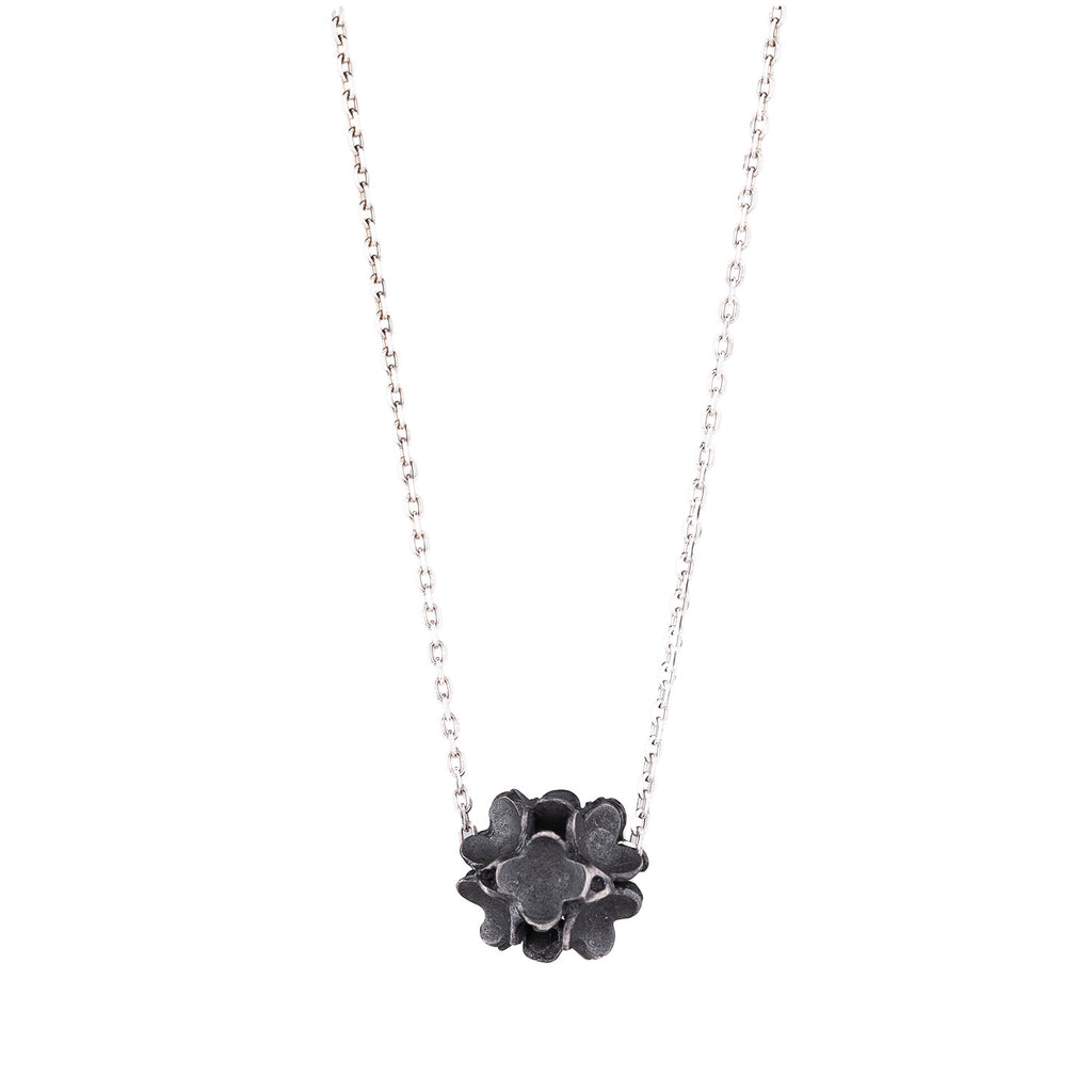 NEW! Oxidized Silver Flower Ball Necklace by Dushka