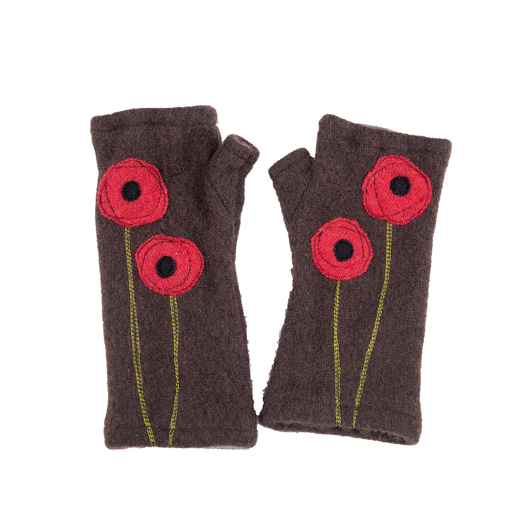 NEW! Brown with Red Flowers Cashmere Gloves by Sardine