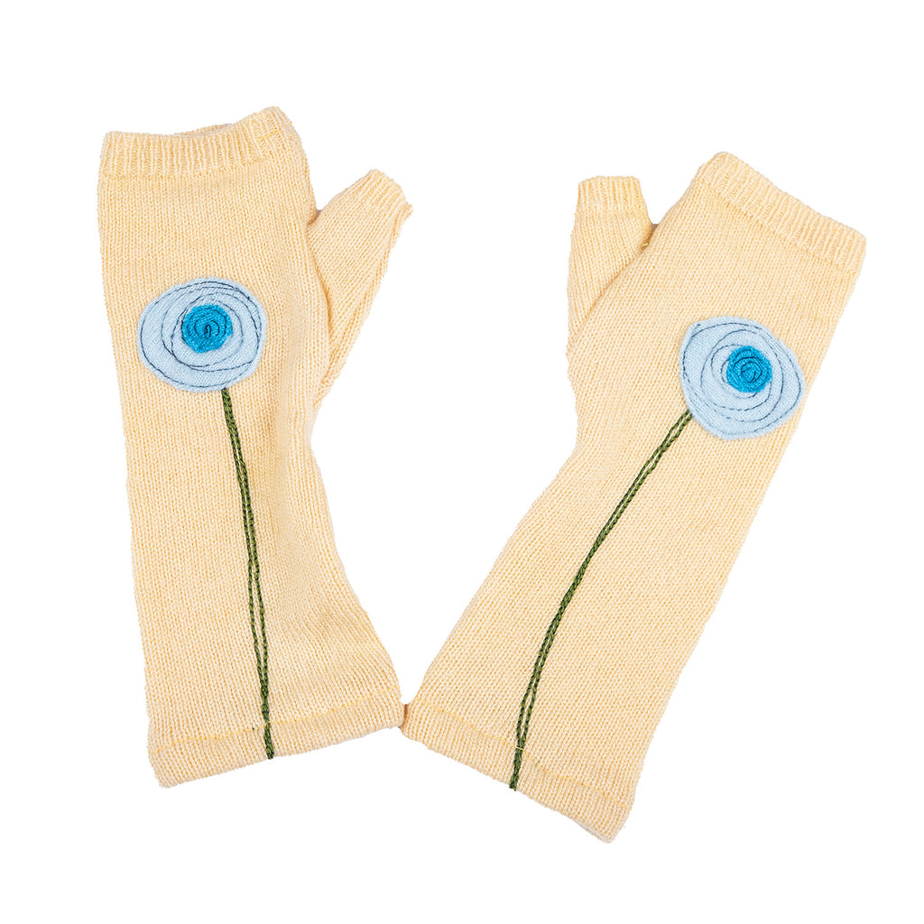 NEW! Yellow with Blue Flowers Cashmere Gloves by Sardine