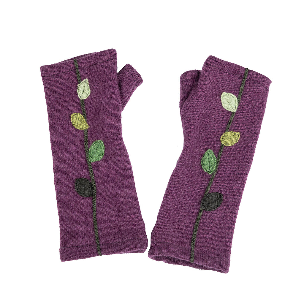 NEW! Purple with Green Gradient Leaves Cashmere Gloves by Sardine
