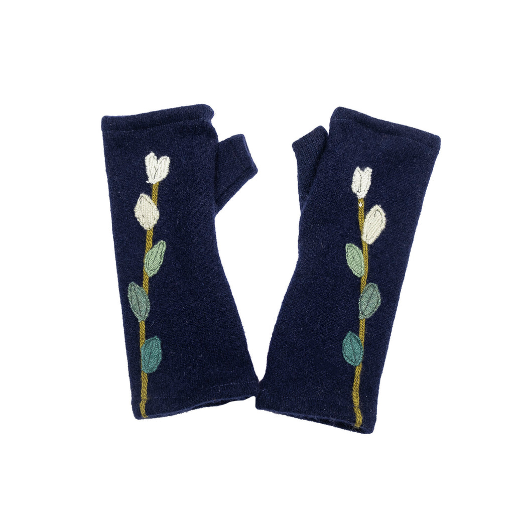 NEW! Navy with Green Gradient Leaves Cashmere Gloves by Sardine