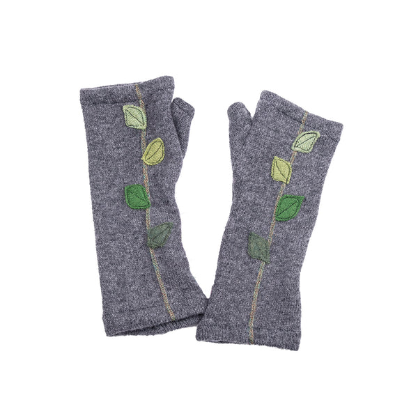 NEW! Grey with Green Gradient Leaves Cashmere Gloves by Sardine