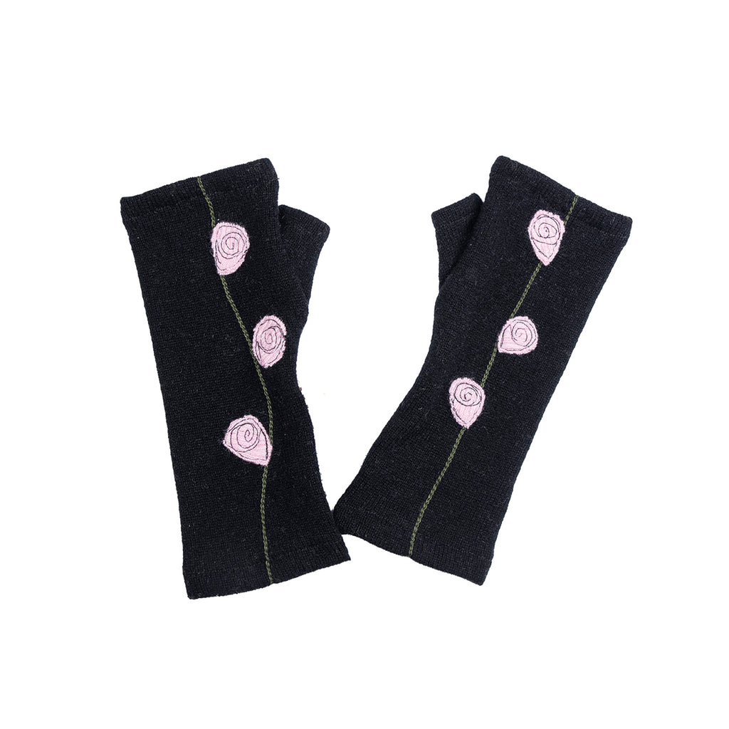 NEW! Black with Pink Flowers Cashmere Gloves by Sardine
