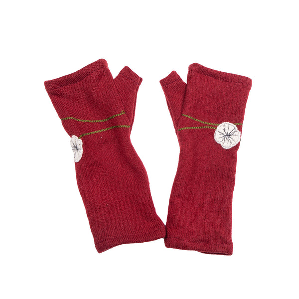 NEW! Red with White Flowers Cashmere Gloves by Sardine