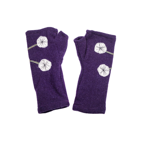 NEW! Purple with White Flowers Cashmere Gloves by Sardine