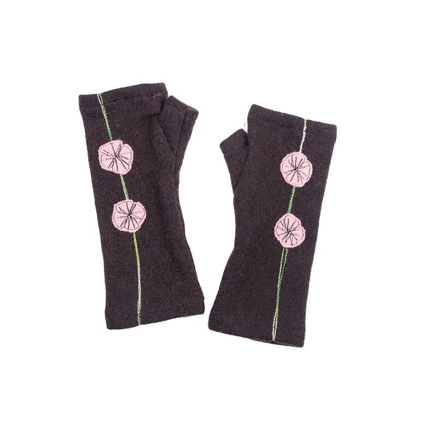 NEW! Brown with Pink Flowers Cashmere Gloves by Sardine