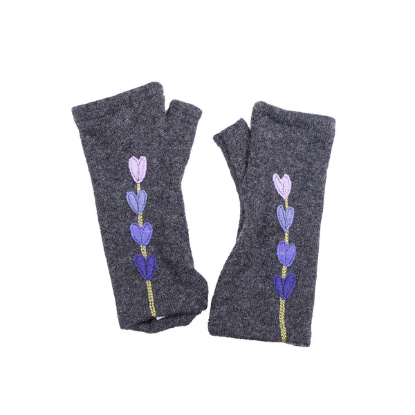 NEW! Dark Grey with Purple Heart Gradient Cashmere Gloves by Sardine