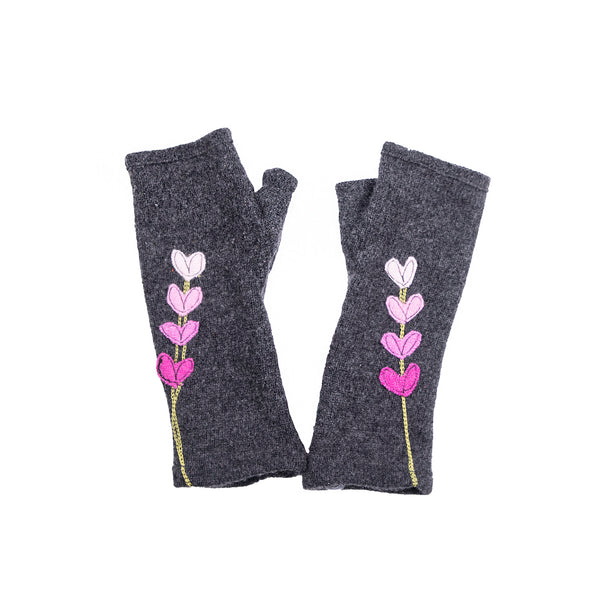 Copy of NEW! Dark Grey with Pink Heart Gradient Cashmere Gloves by Sardine