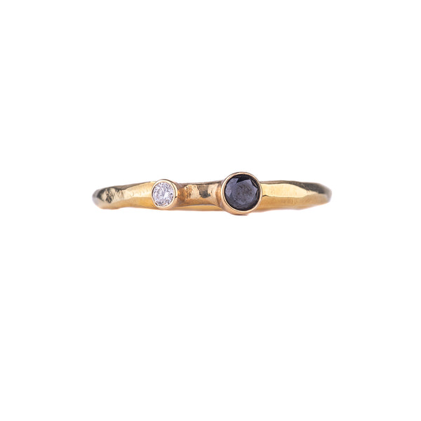 SALE! Dual Black and White Diamond Rogue River Ring in Yellow Gold by Sarah Graham