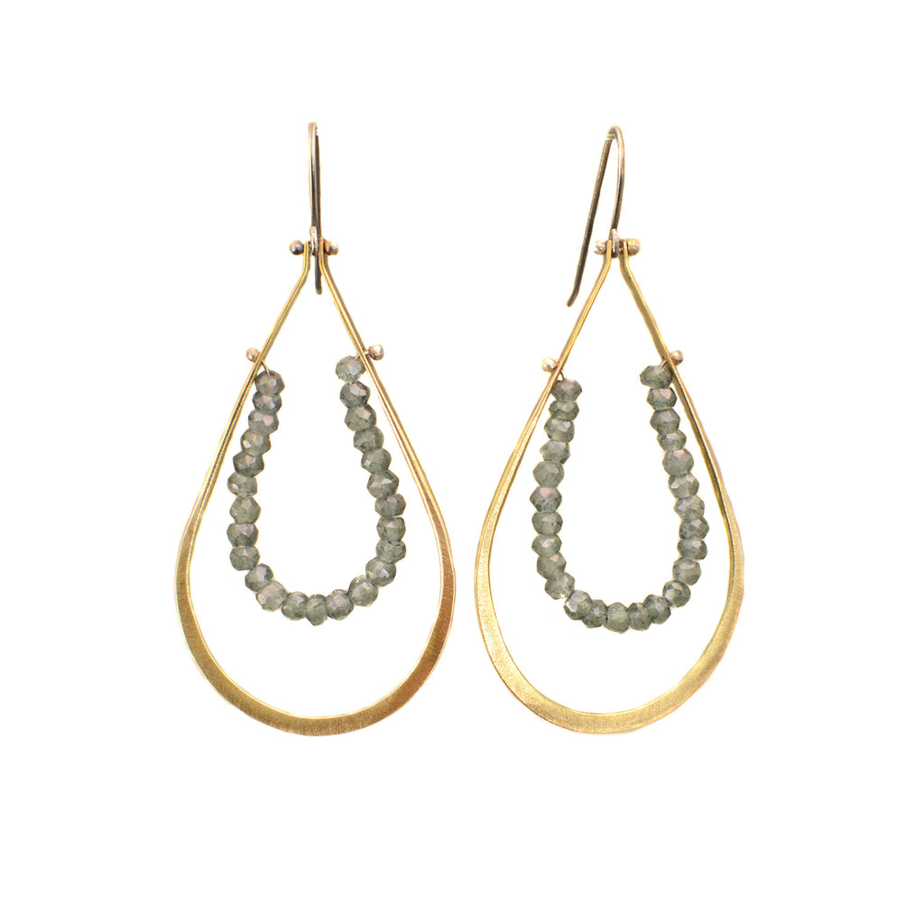 NEW! Brass Hoops with Blue Quartz Earrings by Eric Silva