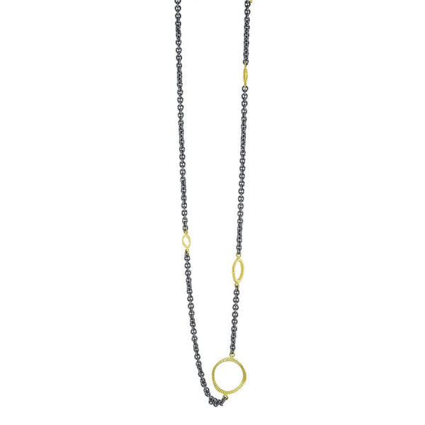 NEW! Oxidized Silver Chain with Gold Dig Circles Necklace by Dahlia Kanner