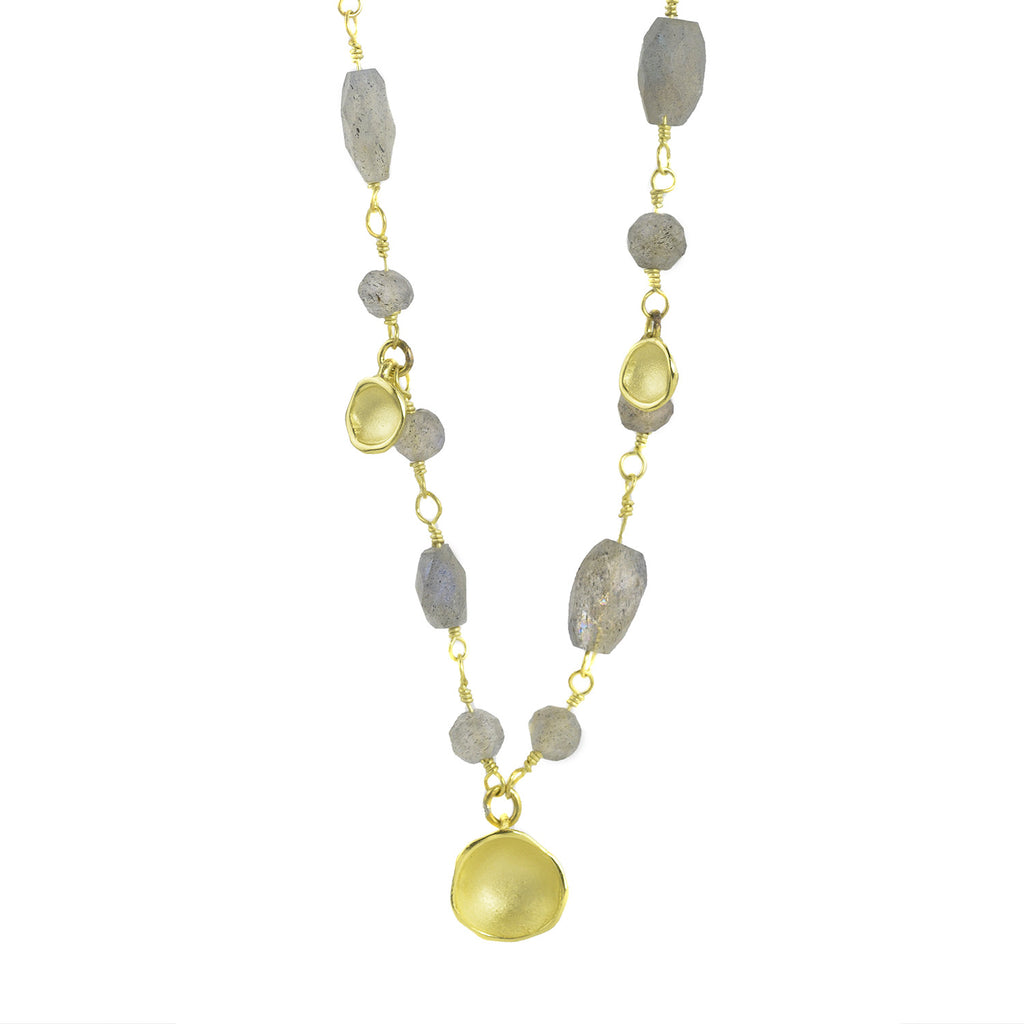 NEW! Five Pod Drop Necklace in 18k Gold Vermeil and Labradorite by Sarah Richardson