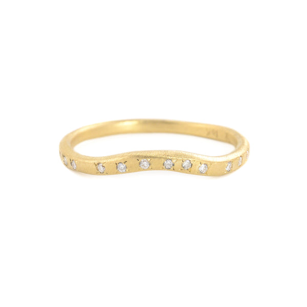 NEW! 18k Gold Curved Band with .07ct Diamonds by Yasuko Azuma
