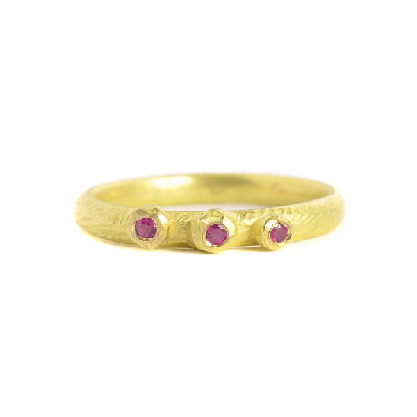 Thin Barnacle Band with Three Rubies in 18k Gold by Dahlia Kanner
