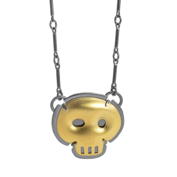 NEW! Skull Necklace in Gold Vermeil and Oxidized Silver by Lisa Crowder