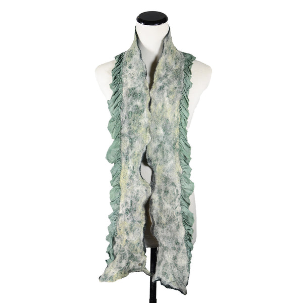 Extra Skinny Ruffle Silk Scarf in Sage Grey by Gina Pannorfi