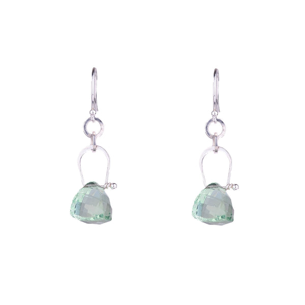 NEW! Stirrup Pyramid Green Amethyst Earrings by Serena Kojimoto