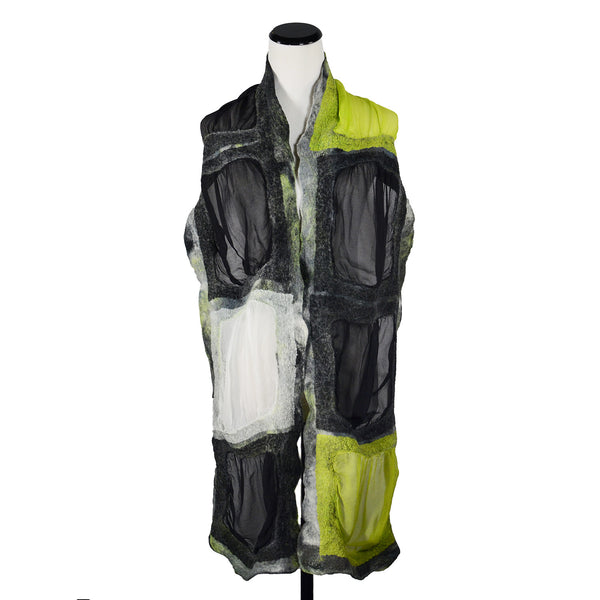 Silk Gauze Skinny Horizontal Blocks Scarf in Black Lime by Gina Pannorfi
