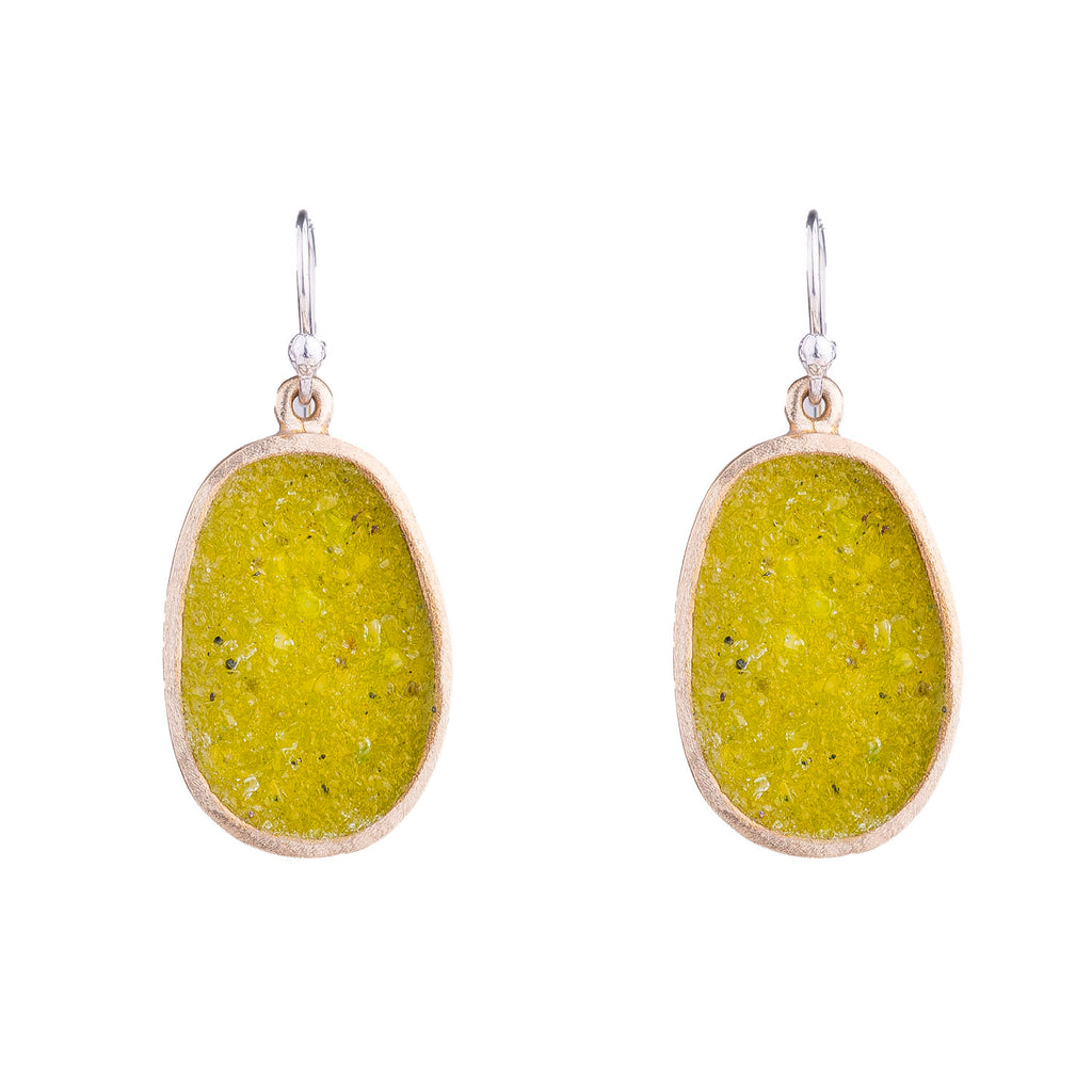 NEW! Small Bronze Boulder Earring in Green Quartz by David Urso