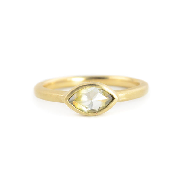 Grey/Green Cats Eye Marquise Bezel Ring by Rebecca Overmann