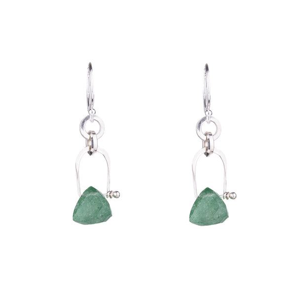NEW! Stirrup Pyramid Green Fluorite Earrings by Serena Kojimoto