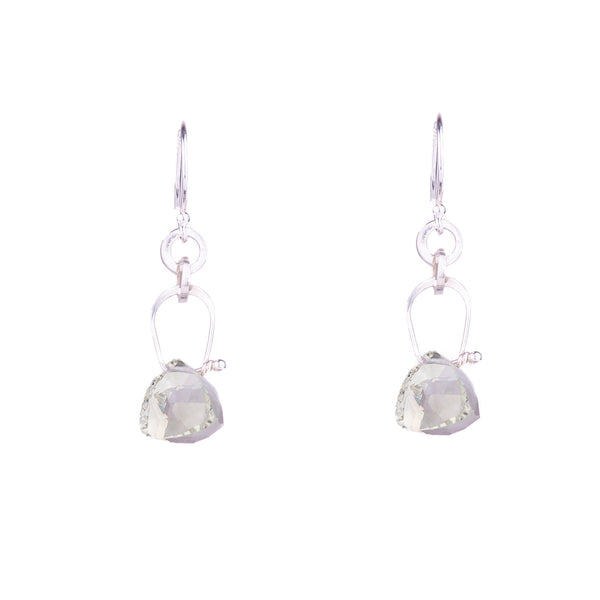 NEW! Stirrup Pyramid Green Quartz Earrings by Serena Kojimoto