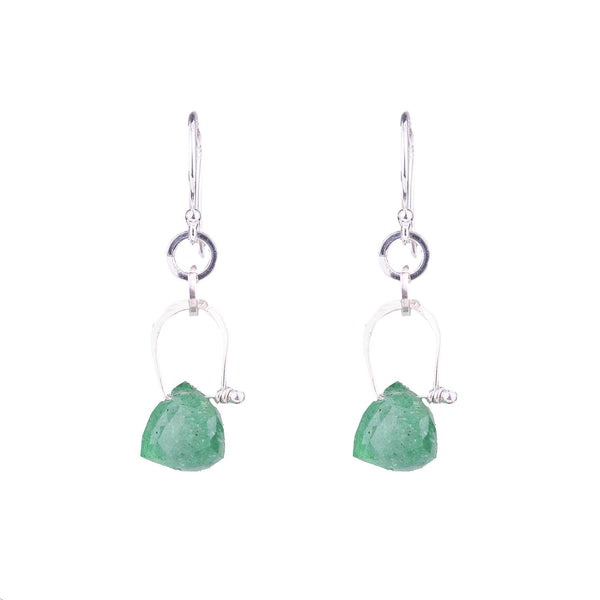 NEW! Stirrup Pyramid Green Strawberry Quartz Earrings by Serena Kojimoto