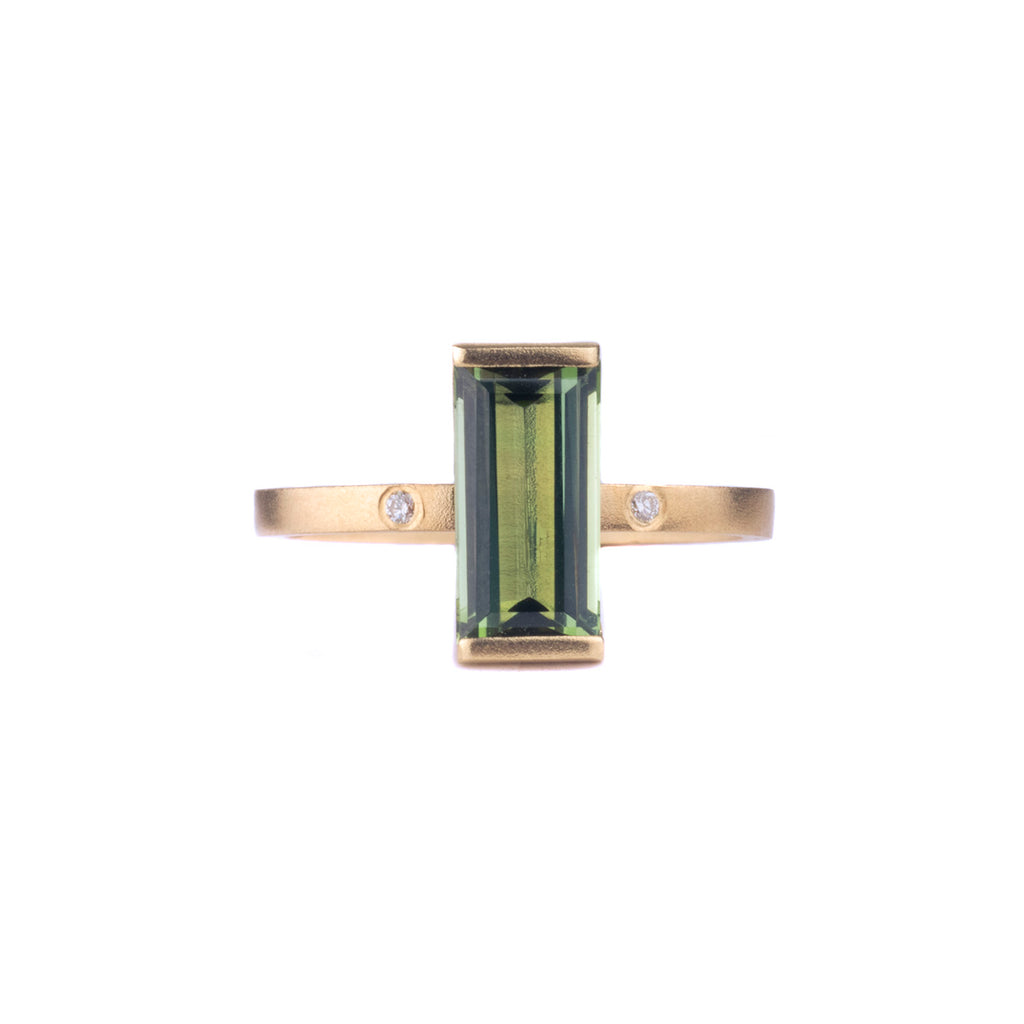 NEW! 14k Gold Green Tourmaline Ring with Diamond Accents by Shaesby