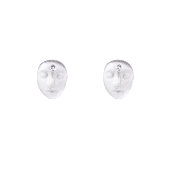 NEW! Little Grey Lady Cameo Stud Earrings with Diamonds by Hannah Blount